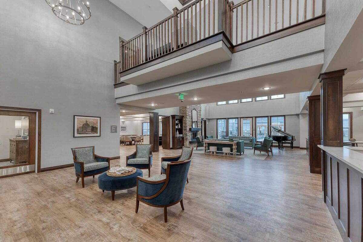Open community space in newly-constructed assisted living center