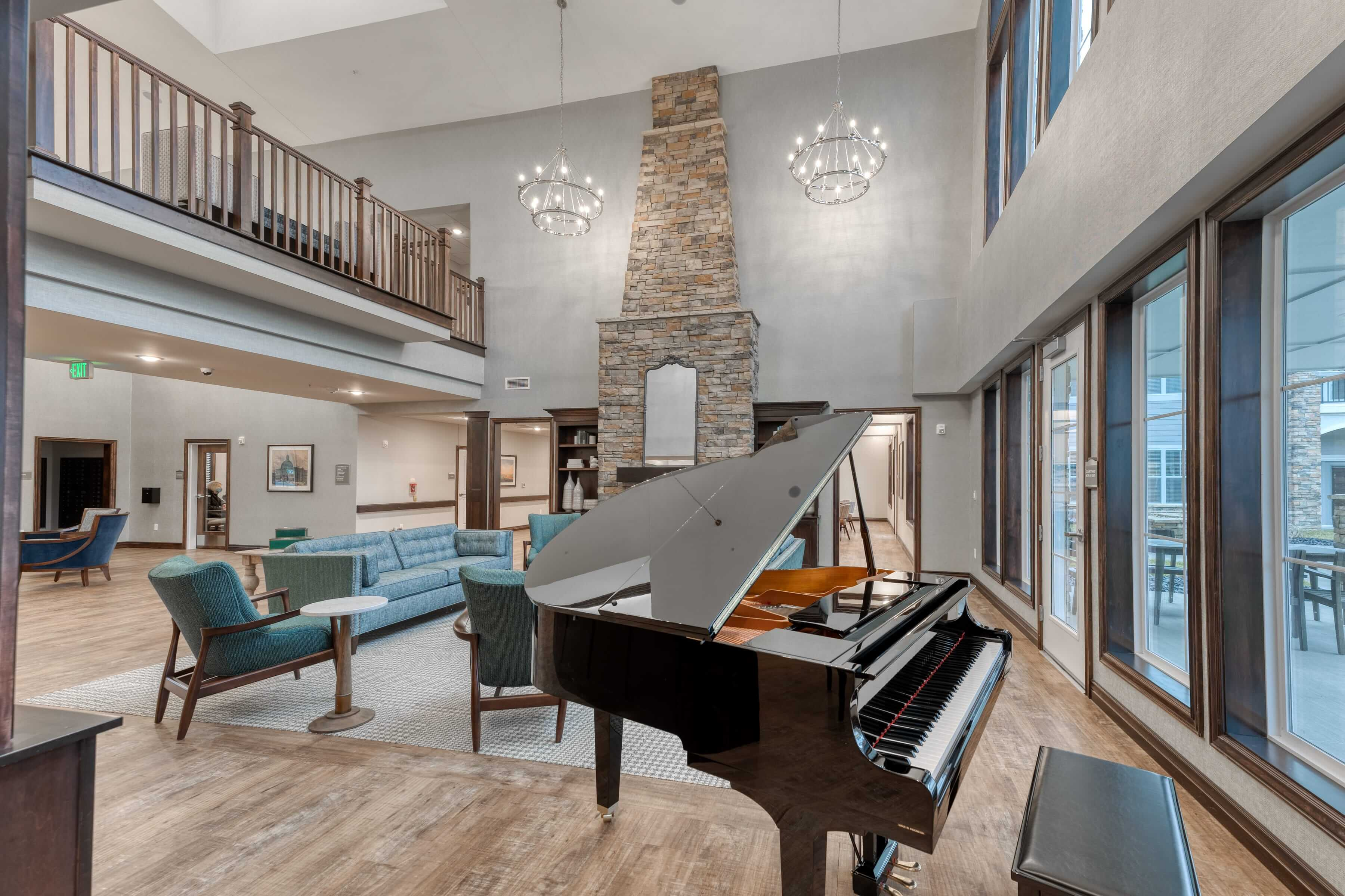 Residents can enjoy practicing piano in this open community space