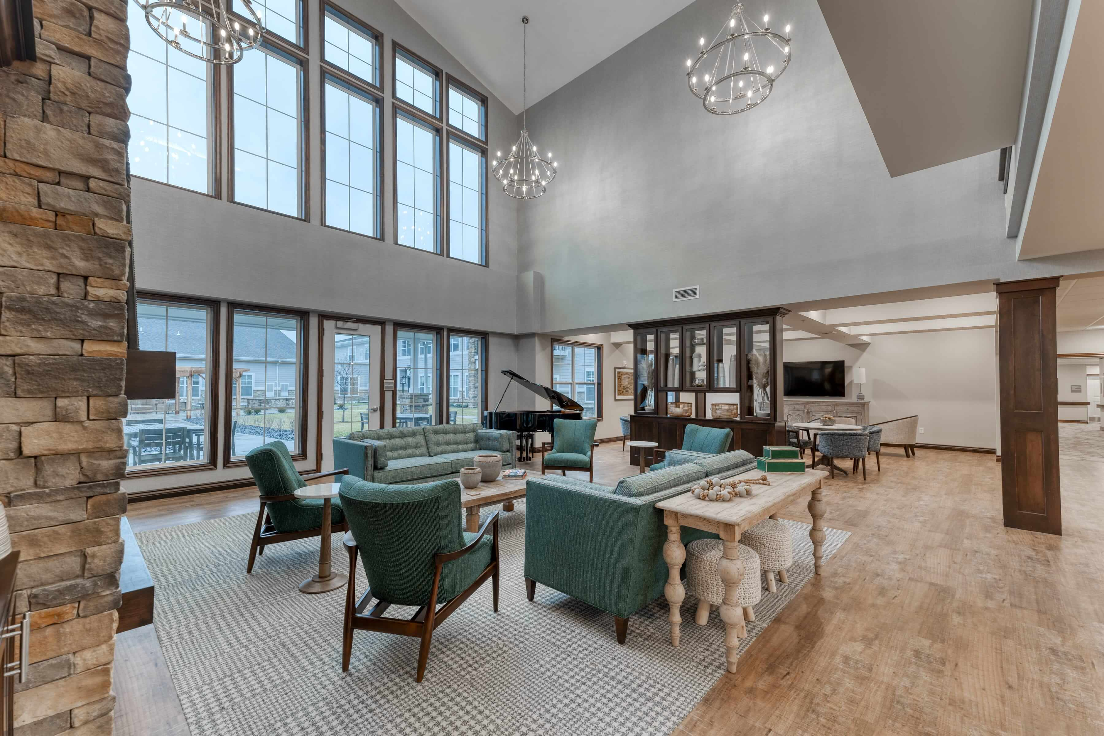 Oversized windows provide natural light to the entire lobby area