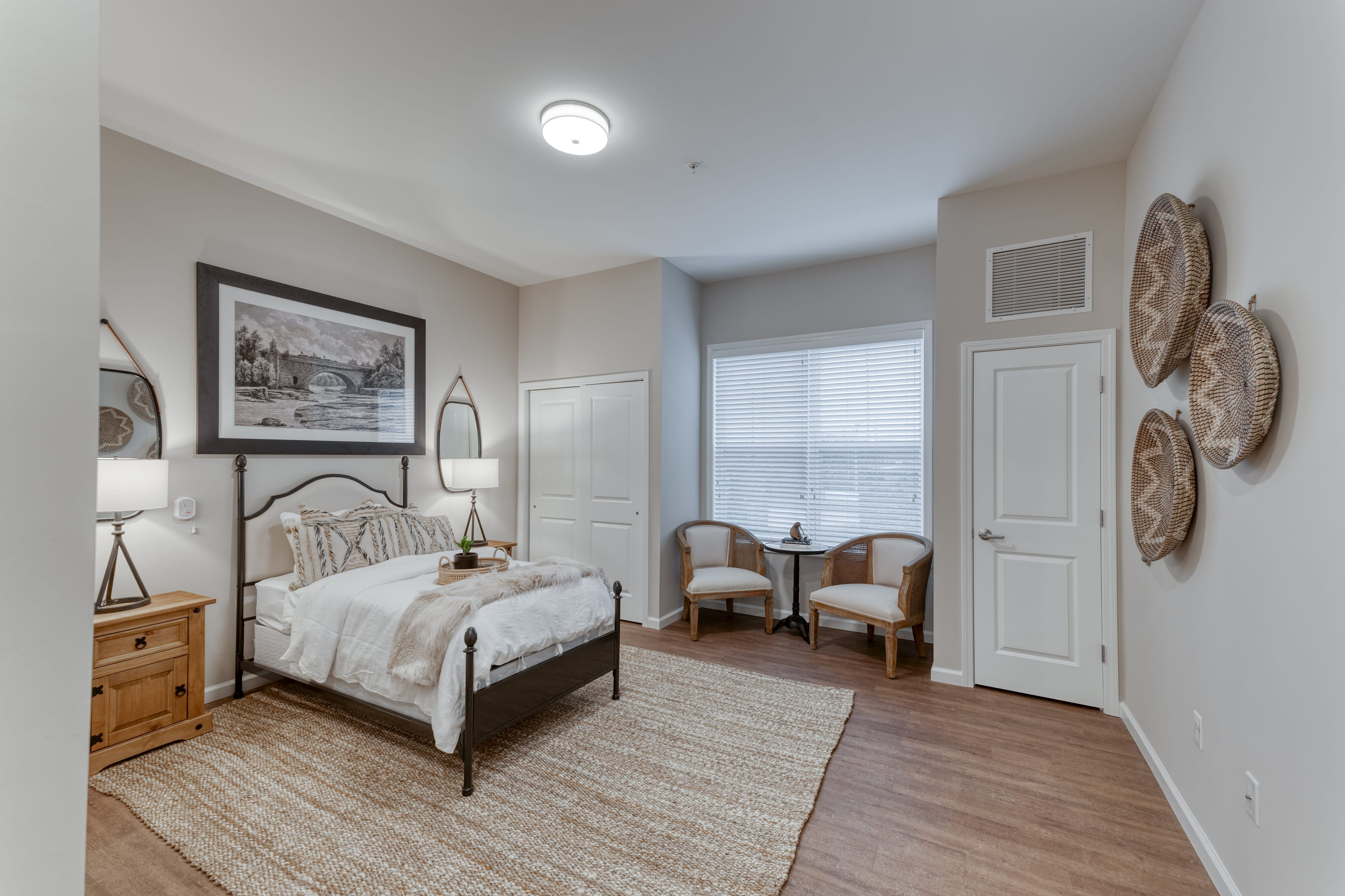 Resident bedrooms are furnished to be both functional and comfortable
