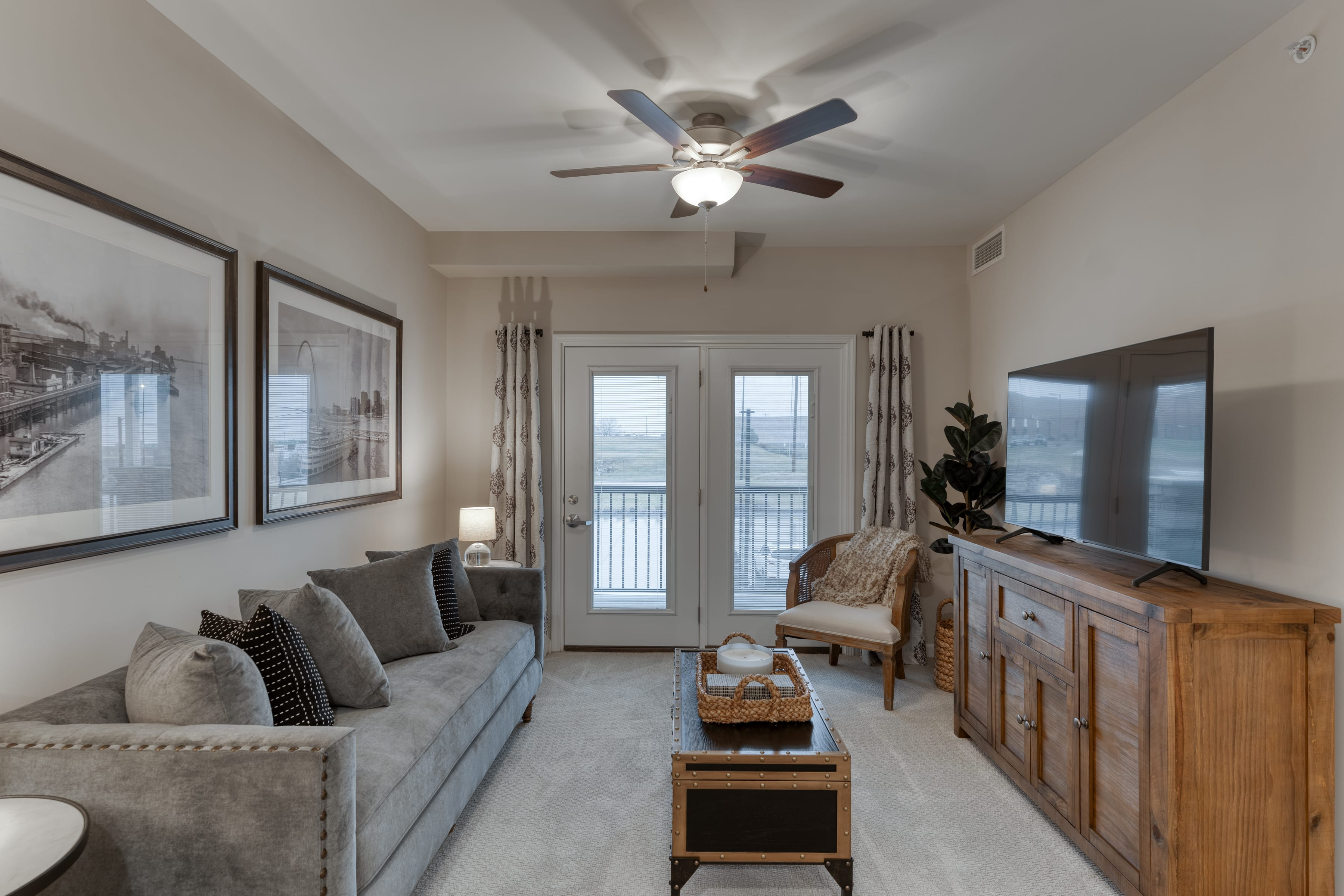 Resident TV areas include sofas and chair seating, as well as a walk-out balcony