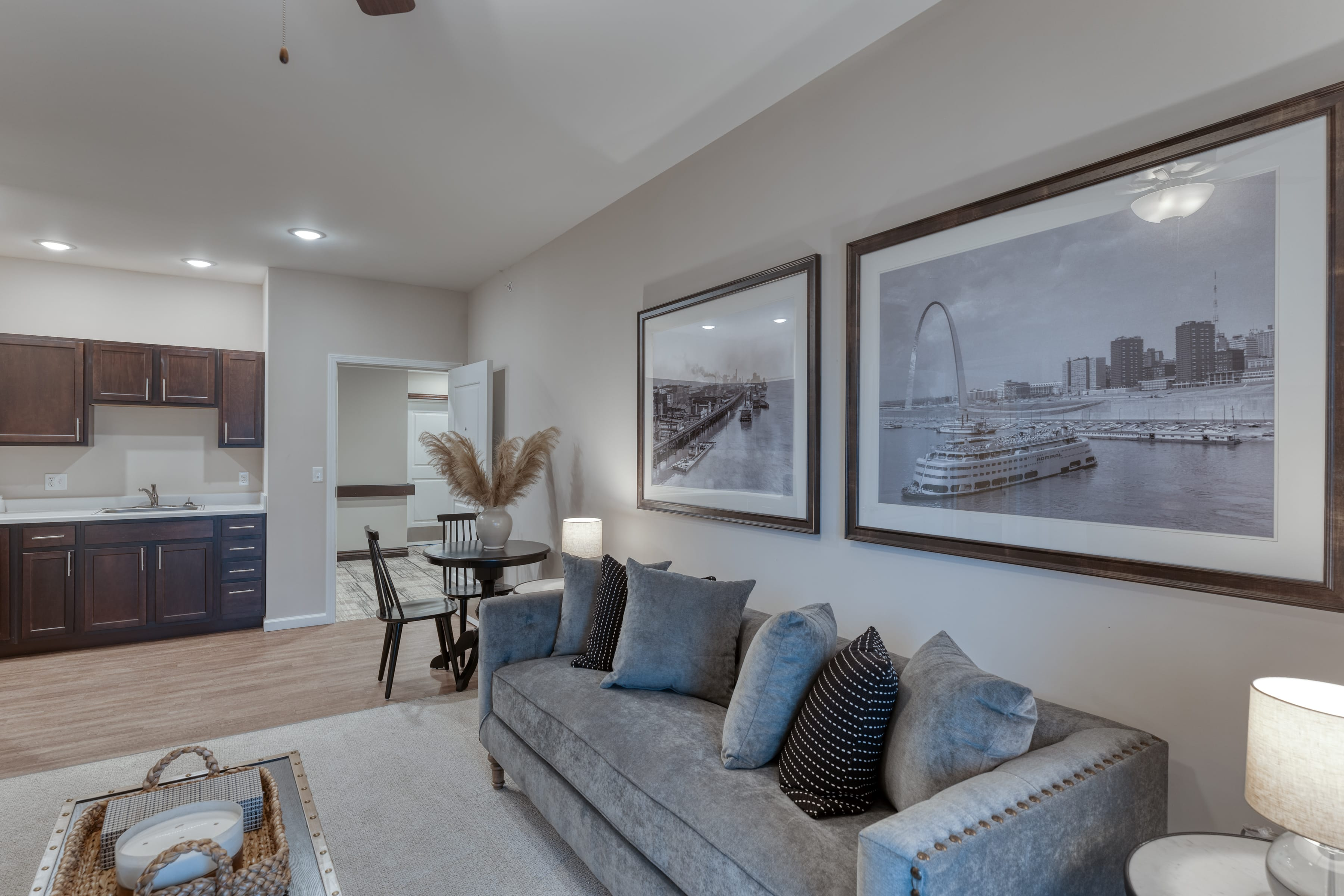 Comfortable sofas and flexible dining areas provide many options to residents