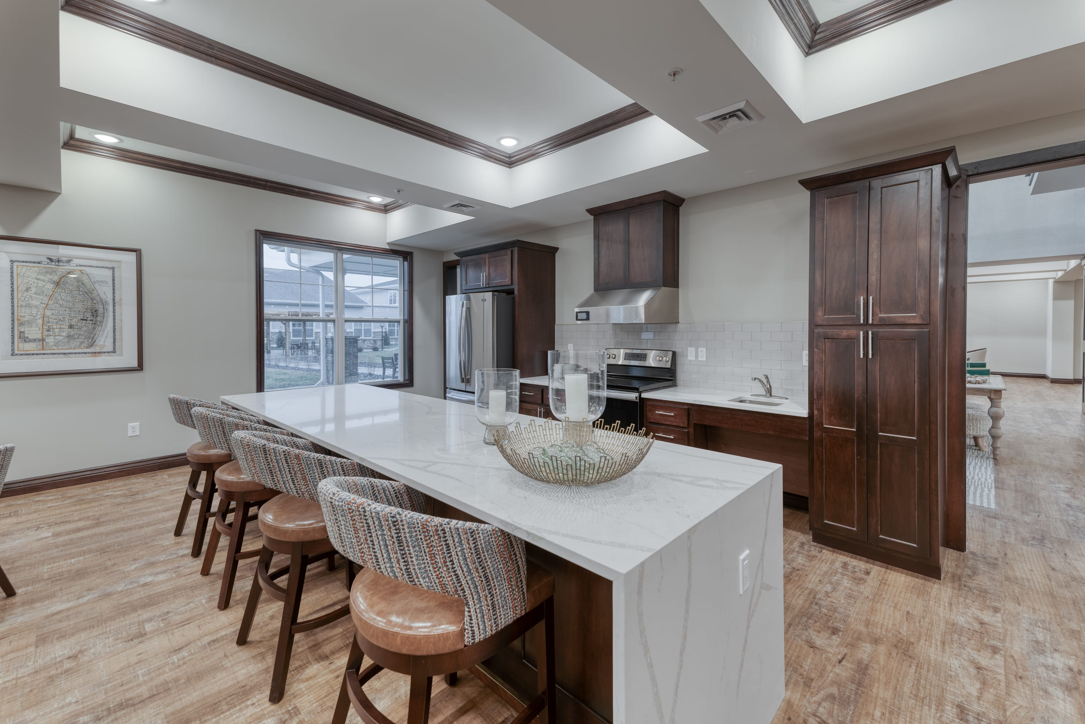 A communal kitchen allows for many options for events