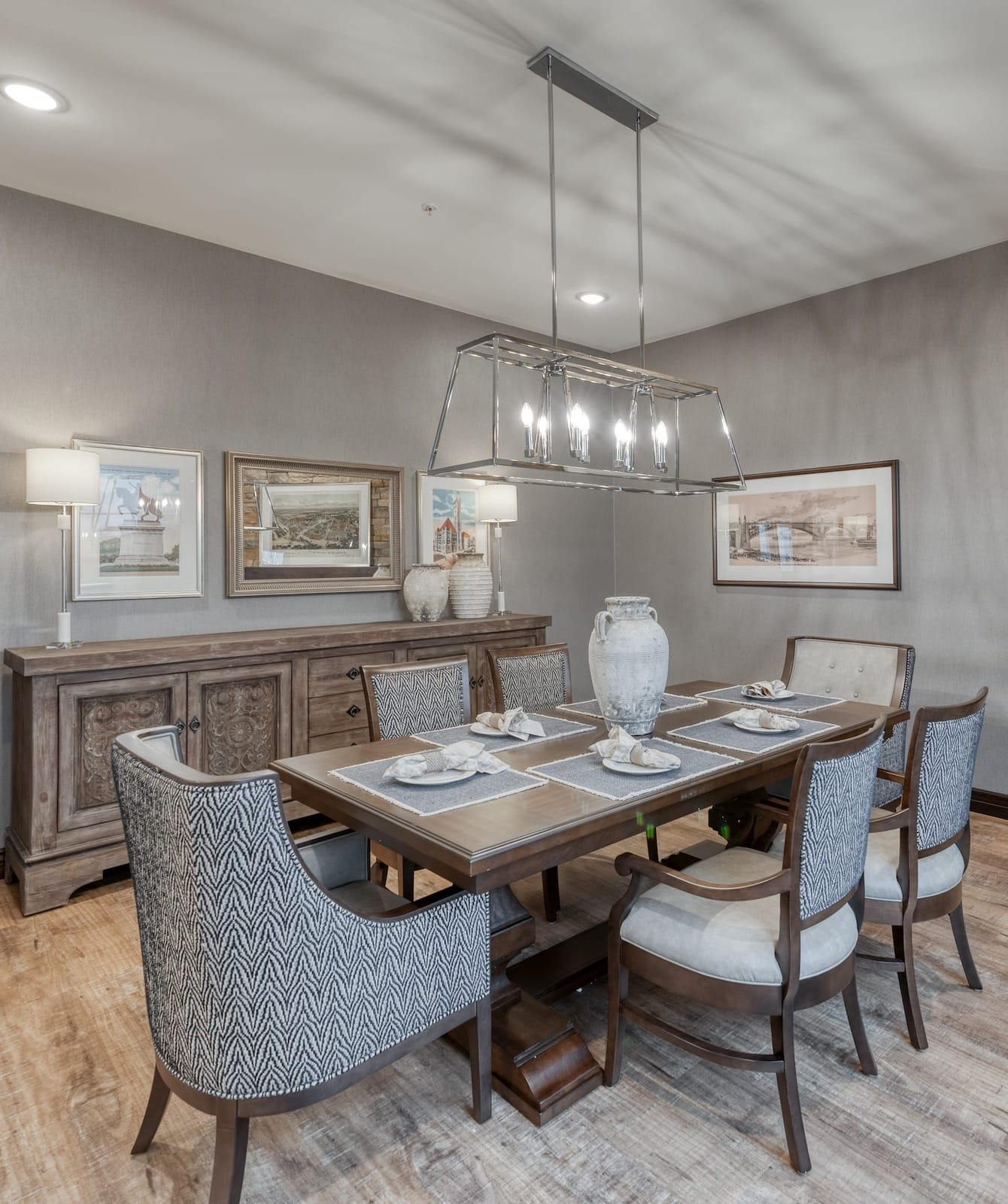 New dining room with modern light fixture